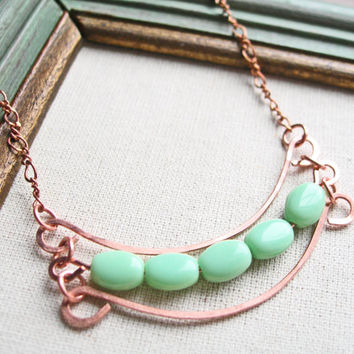 Hammered Copper Necklace, Green Bead Necklace, Mint Green Necklace, Short Necklace Copper Wire Jewelry Copper Jewelry Handmade Hammered Wire