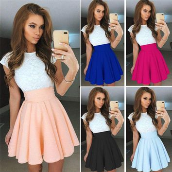Womens Lace Party Cocktail Mini Dress Ladies Summer Short Sleeve Skater Dresses Women Elegant Lace Printed Floral M26