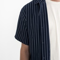 Pebble Crepe Camp Shirt Navy