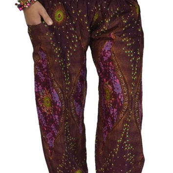 Long Yoga Dark Red flowers stripes Pants/Harem/ Boho Pants/Print flowers design/elastic waist/Comfy pants/fit most/Long pants/Elastic ankle.