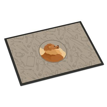 Pomeranian In the Kitchen Indoor or Outdoor Mat 24x36 CK2202JMAT