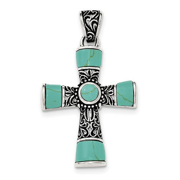 Sterling Silver Synthetic Turquoise Antiqued Cross Pendant QC8145