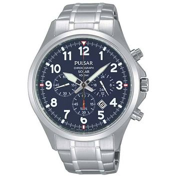 Pulsar Mens Business Collection Solar Chronograph - Blue Dial - Stainless Steel