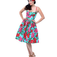 1950s Style Turquoise & Rose Print Paris Swing Dress