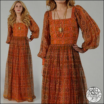 vintage 70s SILK ethnic Gauze India maxi Dress S by TinRoofVintage