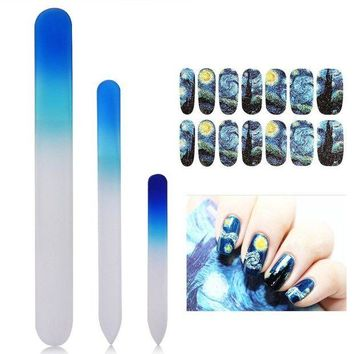 DCCKV2S New8Beauty Crystal Glass Nail Files Manicure Pedicure Set (3-pack) - with FREE Van Gogh Starry Nights decoration nail stickers - Stocking Stuffers