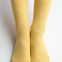 Women New Must Have Hezwagarcia Yellow Color Bocasi Colorful Threads Basic Essential Cotton Ankle Socks