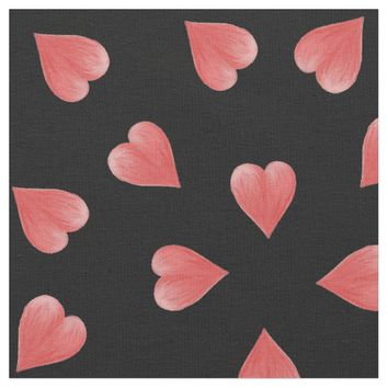 Watercolor Hearts On Black, Tossed Print Fabric