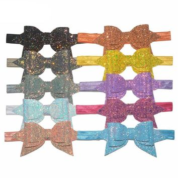 "Boutique 5"" Glitter Sequin Leather Bow Headband / 12 color choices"