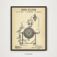 Brewery Decor, Beer Gifts, Instant Download, Patent Art, Beer Poster, Beer Print, Beer Wall Art, Beer Filter Patent Print, Vintage Blueprint