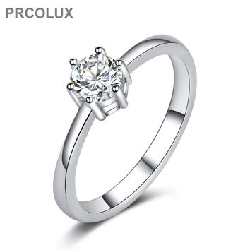 PRCOLUX Fashion Wedding Rings For Women Whit CZ Solitaire 925 Sterling Silver Engagement Ring Female Finger Jewelry Gifts QFA41