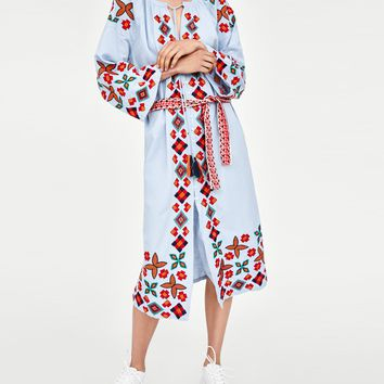 Embroidered Midi Dress Long Sleeves O-Neck Women Dresses Casual Vintage Ukraine Dress Cotton Female Vestidos