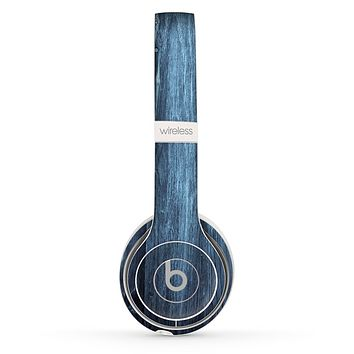 The Blue Washed WoodGrain Skin Set for the Beats by Dre Solo 2 Wireless Headphones