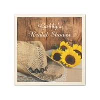 Cowboy Hat, Sunflowers, Barn Wood Bridal Shower Standard Cocktail Napkin