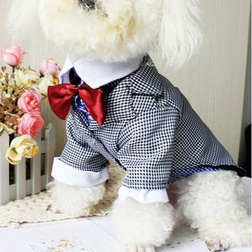 Newest Dog Clothes Winter Western Style Male Wedding Dog Suit & Bow Tie Puppy for Pet