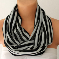 Black and White Striped Loop Infinity Satin Scarf Soft and Lightweight