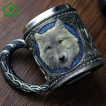 Mugs 3D Wolf King Stainless Steel