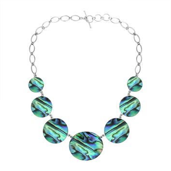 AN-1007-AB Sterling Silver Necklace With Abalone Shell