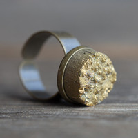 Gold Druzy Ring Adjustable Cocktail Statement Ring OOAK drusy agate dark tribal rustic woodland organic design