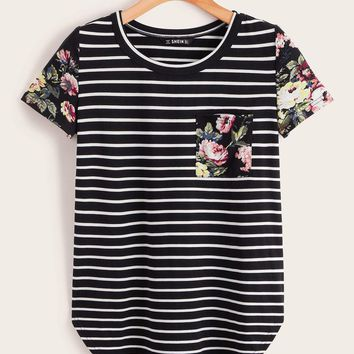 Patch Pocket Curved Hem Striped & Floral Print Tee