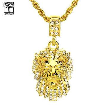 """Jewelry Kay style NEW Men's Iced Out Fashion Lion Head Pendant & 22"""" Rope Chain Set NA 8359 G"""