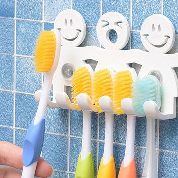 5 Position Tooth Brush Holder Suction Hooks Bathroom Sets Cute Smile Cartoon Sucker Toothbrush Holder