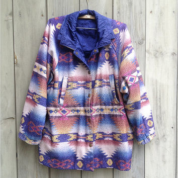 Vintage jacket | 1990s Navajo tribal southwestern print fleece jacket with lining, 1XL