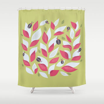 Pretty Plant With White Pink Leaves And Ladybugs Shower Curtain by borianagiormova