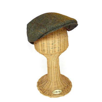 Christy Cap, Wool Tweed, Green Brown, Newsboy Hat, Christys of London, Mens Fashion, Vintage Accessories