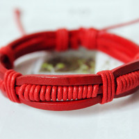 Gift, Fashion Multilayer Red real Leather cuff and Adjustable Cotton cord Wrap Bracelet M-28