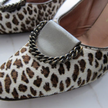 60s Leopard Henry Waters Shoes of Consequence - Vintage Stiletto High Heel Heels Pinup Pumps Shoes  7N