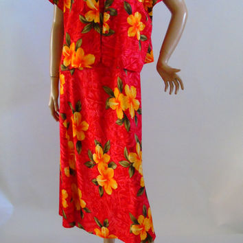 Hilo Hattie Hawaiian 2 piece Dress Set, Aloha Hawaii Dress Co-ordinate, Tropical Print Resortwear , Floral Summer Outfit