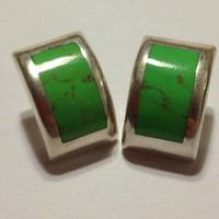 Taxco Gaspeite Earrings Sterling Silver Green Stones RARE Stamped 925 Mexico 13.4 Grams Vintage Jewelry Southwestern Tribal Gift Mexican 60s
