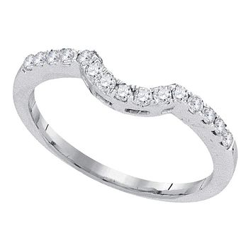 14kt White Gold Women's Round Diamond Curved Wedding Band Ring 1/4 Cttw - FREE Shipping (US/CAN)