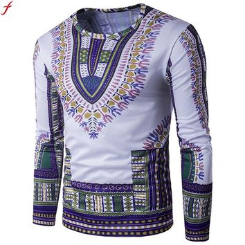 T Shirt Men Long Sleeve New Fashion 2017 African Print Spring Men's Brand Clothing Casual Slim O-neck  T shirt Homme Tees