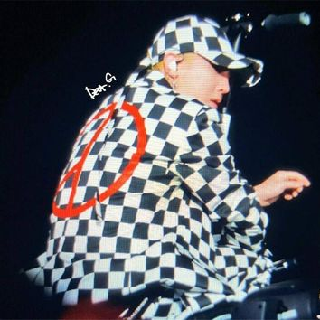 KPOP Bigbang Gdragon GD japan concert same style Black and white grid cap baseball hat with peaceminusone clip