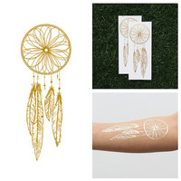 Catch - Metallic Gold Dreamcatcher Temporary Tattoo (Set of 2)