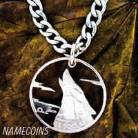 Howling Wolf Necklace with clouds, Hand cut quarter