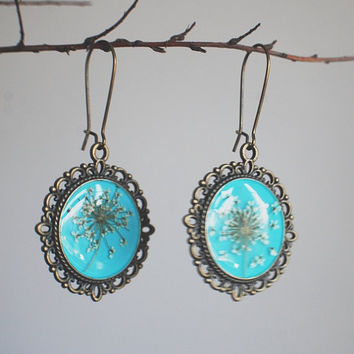 Real Flower Earrings Turquoise Resin by NaturalPrettyThings