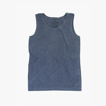 Pigment Dyed Basic Tank Top in Faded Midnight Denim