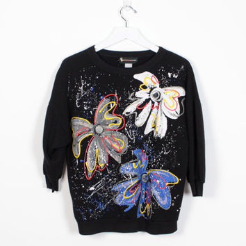 Vintage 80s Sweatshirt Black Puffy Paint Floral Print Mirrored Bow Design Hand Painted Sweatshirt 1980s Tshirt New Wave Pullover M L Large