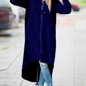New Royal Blue Irregular Zipper Pockets High-low Casual Hooded Cardigan Coat