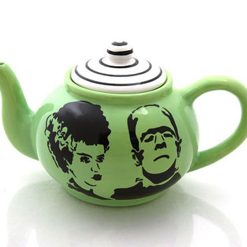 Mr and Mrs, personalized wedding gift, Frankenstein and bride teapot