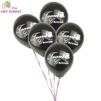 "HEY FUNNY 10pcs/lot ""Team Groom"" Balloon Bridal Shower white hat printed balloon Hen Bachelorette Wedding Party Decoration"