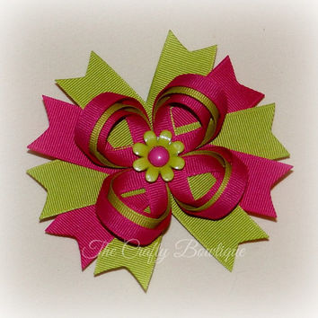 Flower Loopy Bow ~ Hot Pink & Lime Green ~ Pink Flower Bow ~ Large Loopy Bow ~ Large Flower Bow ~ Flower Hair Clip ~ Flower Headband Bow