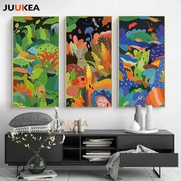 HD New Natural Scenery Tree Illustration Design Canvas Print Painting Poster Large Size Wall Art Picture For Hallway, Home Decor