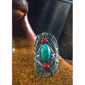 Silver Tone Western Turquoise Ring