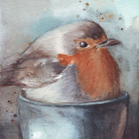 Original watercolor painting Cupped Robin Birdie art