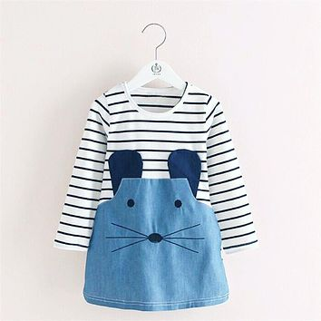 Baby Stripe Dress Cute Character Mouse Girls Dresses Children Clothing Denim Clothes For Kids Boutique Clothing Age 2 To 6 Years
