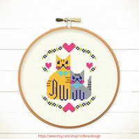 Modern Cross stitch pattern PDF - Kittens in LOVE  -Xstitch Instant download - Happy cat Cheerful kitten Cute Funny Woodland Animal